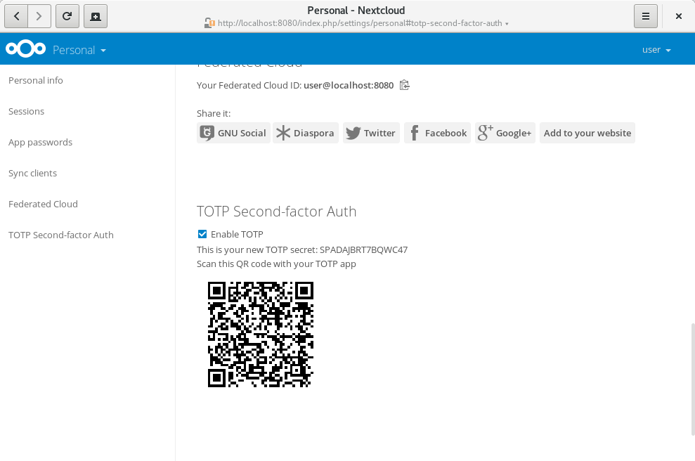 The newly generated TOTP secret is shown. Next to it you'll see a QR-code